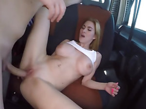 Woman is lured into Spanish bang bus and fucked in shaved cunt