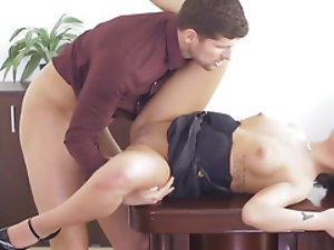 Boss' dick in muff is much better for secretary than working