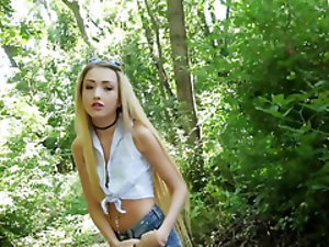 Cameraguy reaches his goal and fucks blonde lovely in the forest