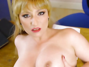 Young student impales busty blonde pedagogue in POV style