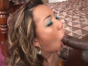 Asian lady knows how to take good care about the big black thing