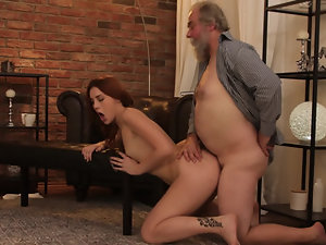 Babe with red hair loves to be nailed by old man on the floor