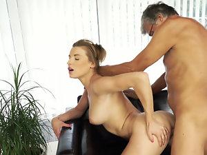 Bitch is seduced and fucked by boyfriend's nerdy old stepdad