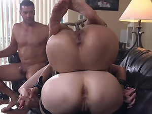 Petite Asian MILF and redhead dominated by Latin bruiser