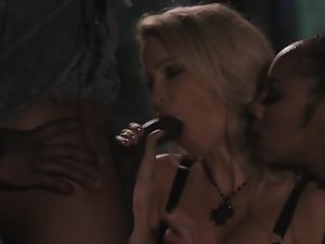 Archangel fucks blonde and black minxes in different positions