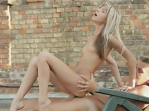 Girlscan't wait to play with naked male's cock on the roof