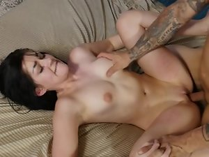 Getting sweaty with a young and horny cock slut in his bed
