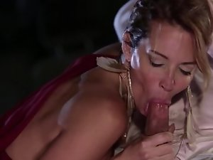 Adorable girl isn't against of spontaneous threesome fuck outdoors
