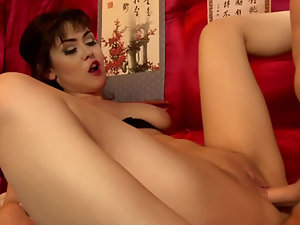 Busty Asian Geisha services tattooed client in luxurious brothel