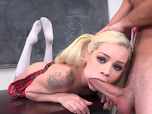 Slutty schoolgirl gets owned by her teacher right on his table