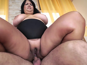 Mature brunette fatty gets assfucked by handy partner's cock