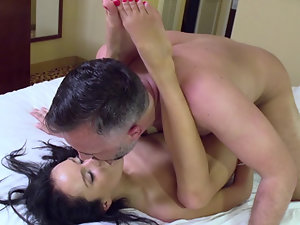 Skinny little slut with small tits smiles as she is pounded hard